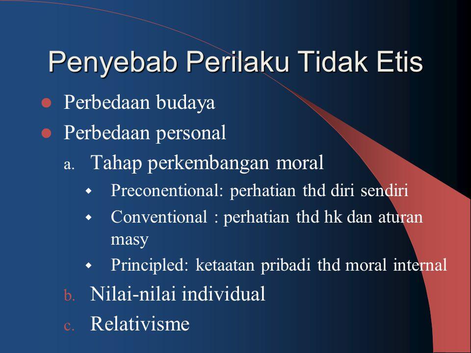 Penyebab Perilaku Tidak Etis Perbedaan budaya Perbedaan personal a. Tahap perkembangan moral  Preconentional: perhatian thd diri sendiri  Convention
