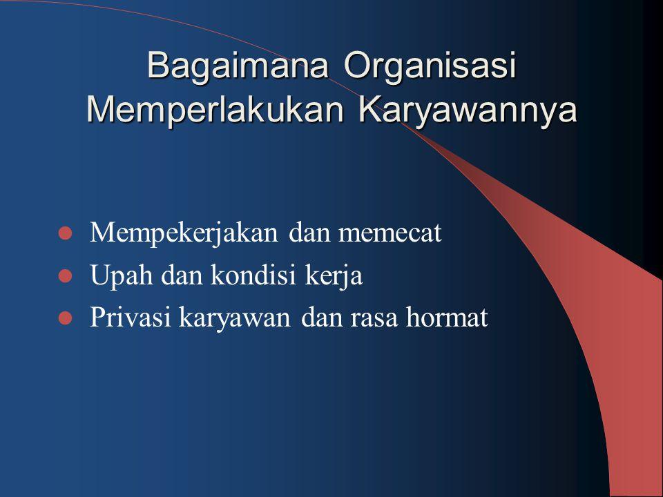 Bagaimana Organisasi Memperlakukan Karyawannya Mempekerjakan dan memecat Upah dan kondisi kerja Privasi karyawan dan rasa hormat
