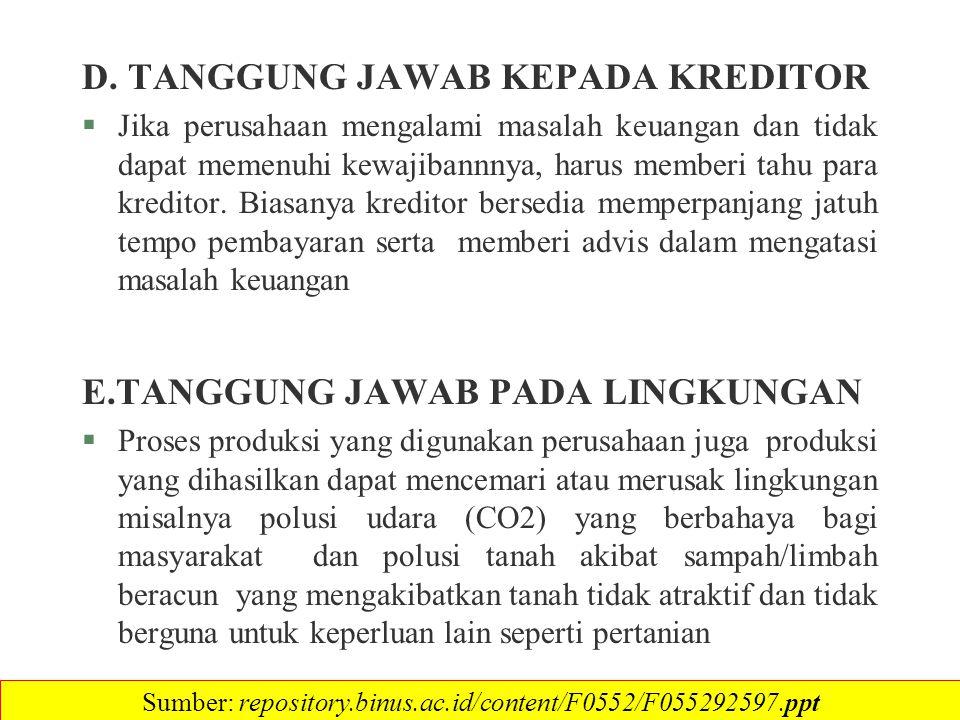 D. TANGGUNG JAWAB KEPADA KREDITOR §Jika perusahaan mengalami masalah keuangan dan tidak dapat memenuhi kewajibannnya, harus memberi tahu para kreditor