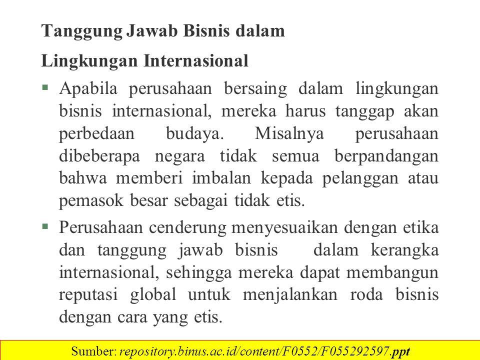 Tanggung Jawab Bisnis dalam Lingkungan Internasional §Apabila perusahaan bersaing dalam lingkungan bisnis internasional, mereka harus tanggap akan per
