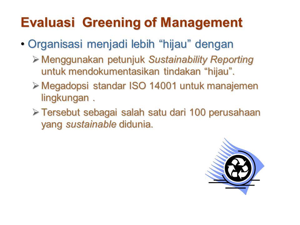 """Evaluasi Greening of Management Organisasi menjadi lebih """"hijau"""" denganOrganisasi menjadi lebih """"hijau"""" dengan  Menggunakan petunjuk Sustainability R"""