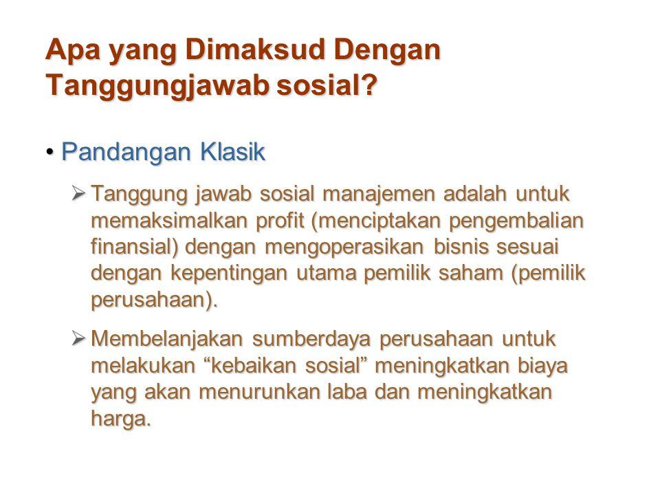 Apa yang Dimaksud Dengan Tanggungjawab sosial? Pandangan KlasikPandangan Klasik  Tanggung jawab sosial manajemen adalah untuk memaksimalkan profit (m