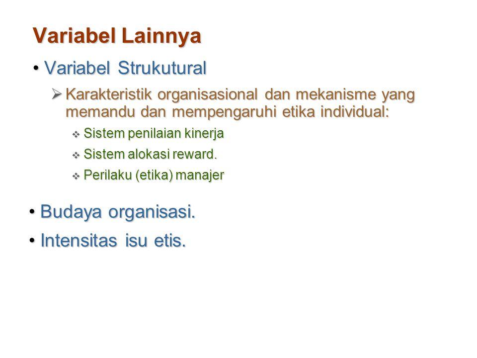 Variabel Lainnya Variabel StrukuturalVariabel Strukutural  Karakteristik organisasional dan mekanisme yang memandu dan mempengaruhi etika individual:
