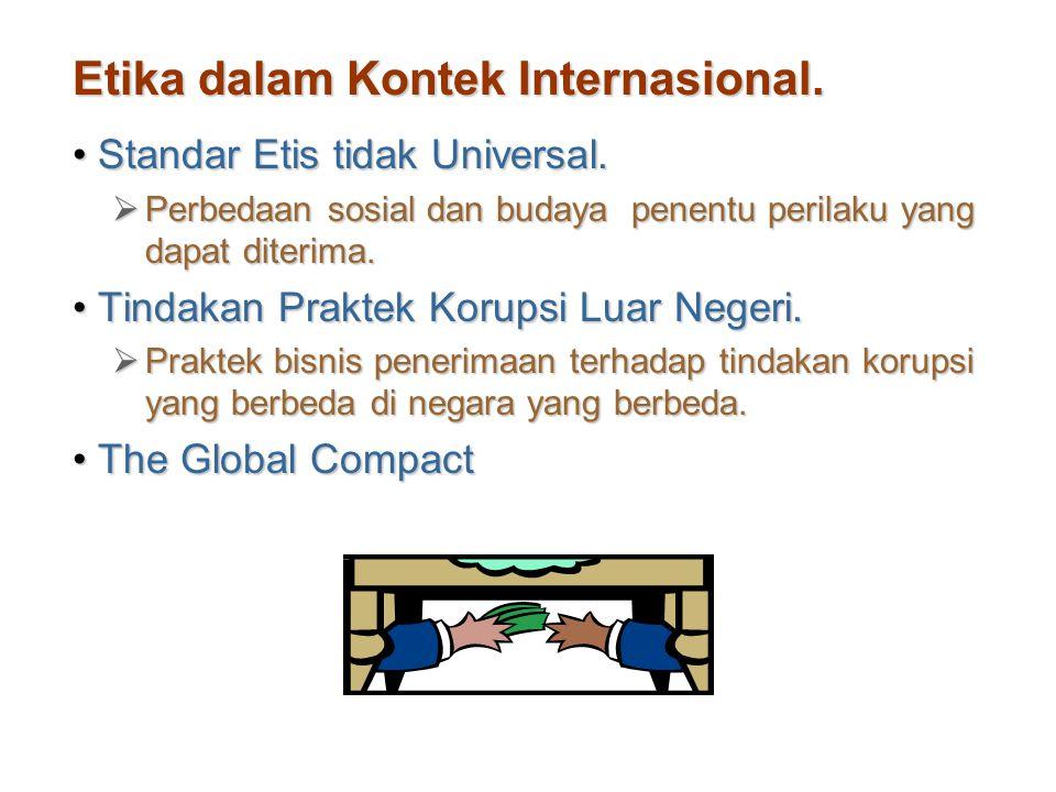 Etika dalam Kontek Internasional. Standar Etis tidak Universal.Standar Etis tidak Universal.  Perbedaan sosial dan budaya penentu perilaku yang dapat