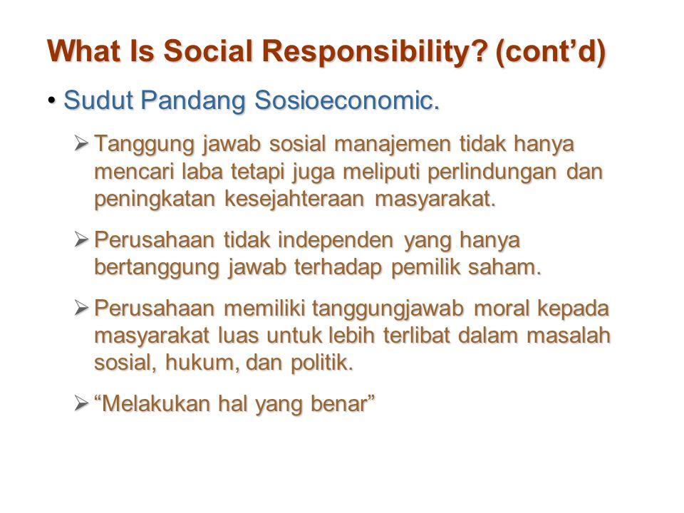 What Is Social Responsibility? (cont'd) Sudut Pandang Sosioeconomic.Sudut Pandang Sosioeconomic.  Tanggung jawab sosial manajemen tidak hanya mencari