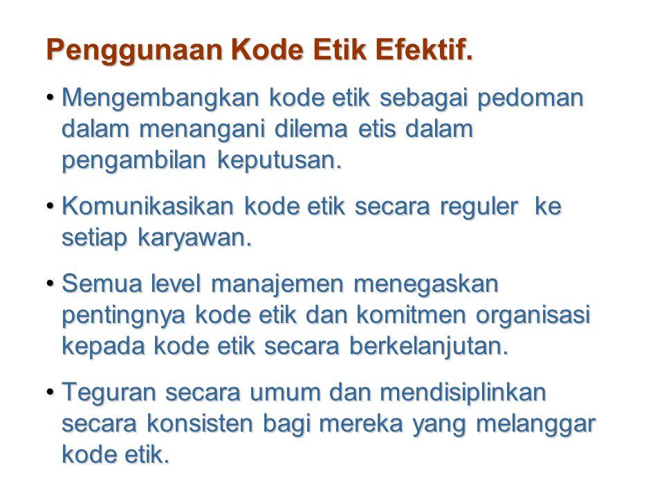 Penggunaan Kode Etik Efektif. Mengembangkan kode etik sebagai pedoman dalam menangani dilema etis dalam pengambilan keputusan.Mengembangkan kode etik