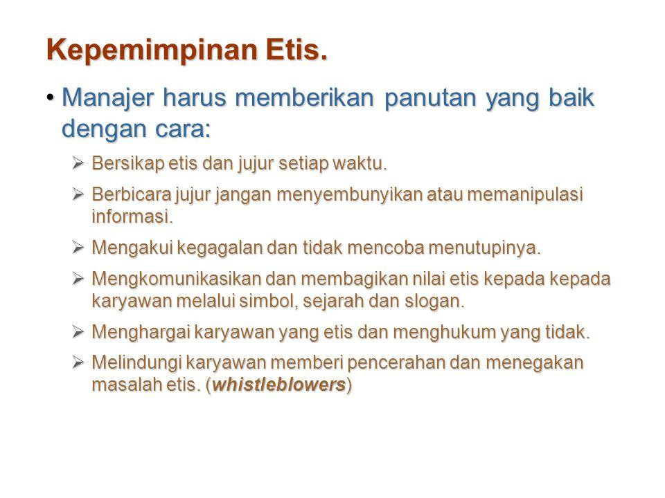 Kepemimpinan Etis. Manajer harus memberikan panutan yang baik dengan cara:Manajer harus memberikan panutan yang baik dengan cara:  Bersikap etis dan
