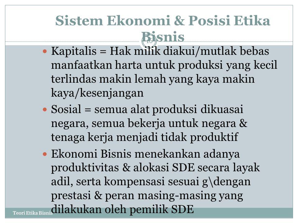 Sistem Ekonomi & Posisi Etika Bisnis Teori Etika Bisnis 16 Kapitalis = Hak milik diakui/mutlak bebas manfaatkan harta untuk produksi yang kecil terlindas makin lemah yang kaya makin kaya/kesenjangan Sosial = semua alat produksi dikuasai negara, semua bekerja untuk negara & tenaga kerja menjadi tidak produktif Ekonomi Bisnis menekankan adanya produktivitas & alokasi SDE secara layak adil, serta kompensasi sesuai g\dengan prestasi & peran masing-masing yang dilakukan oleh pemilik SDE