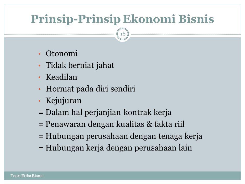 Prinsip-Prinsip Ekonomi Bisnis Teori Etika Bisnis 18 Otonomi Tidak berniat jahat Keadilan Hormat pada diri sendiri Kejujuran = Dalam hal perjanjian ko