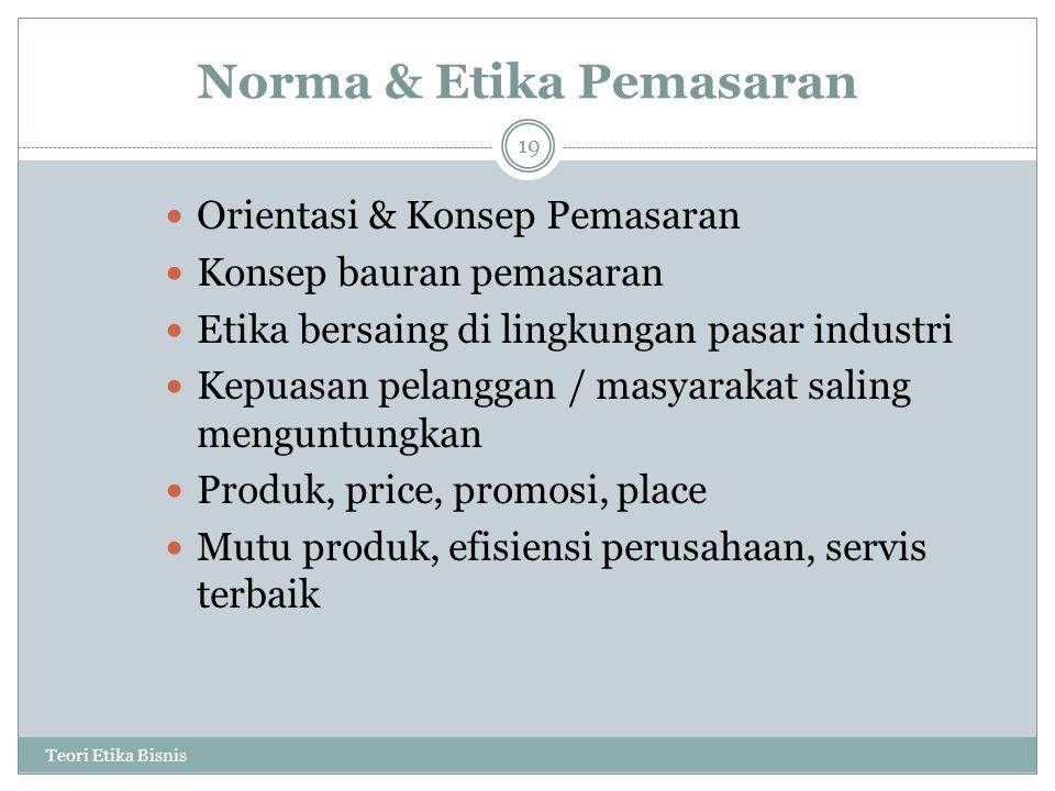 Norma & Etika Pemasaran Teori Etika Bisnis 19 Orientasi & Konsep Pemasaran Konsep bauran pemasaran Etika bersaing di lingkungan pasar industri Kepuasa