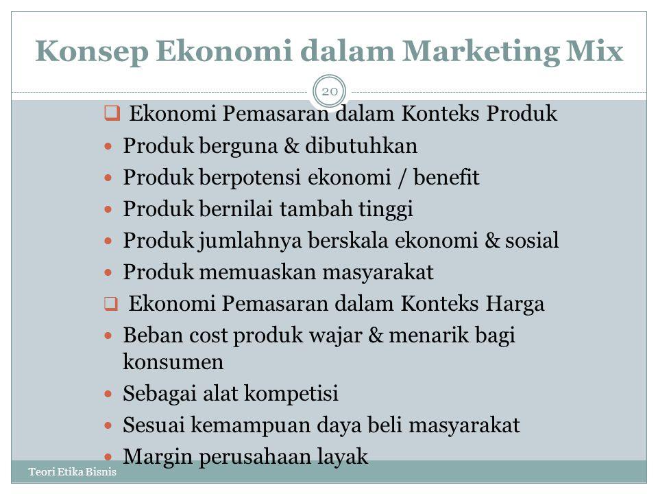Konsep Ekonomi dalam Marketing Mix Teori Etika Bisnis 20  Ekonomi Pemasaran dalam Konteks Produk Produk berguna & dibutuhkan Produk berpotensi ekonom