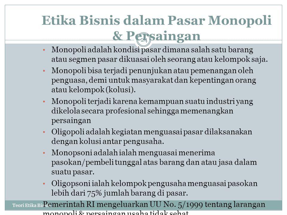 Etika Bisnis dalam Pasar Monopoli & Persaingan Teori Etika Bisnis 24 Monopoli adalah kondisi pasar dimana salah satu barang atau segmen pasar dikuasai oleh seorang atau kelompok saja.