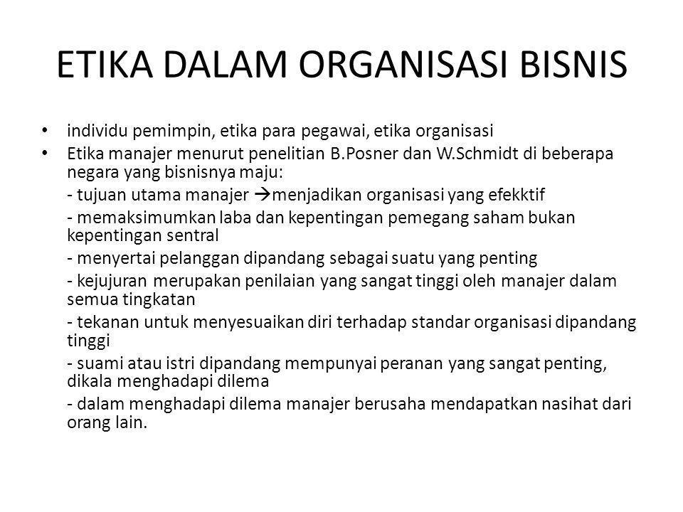 Etika organisasi bisnis Etika organisasi bisnis terhadap konsumen Contohnya: - promosi tidak boleh membohongi - produk yang dijual sesuai dengan kemasan yang tertulis - Produk yang rusak tidak dijual
