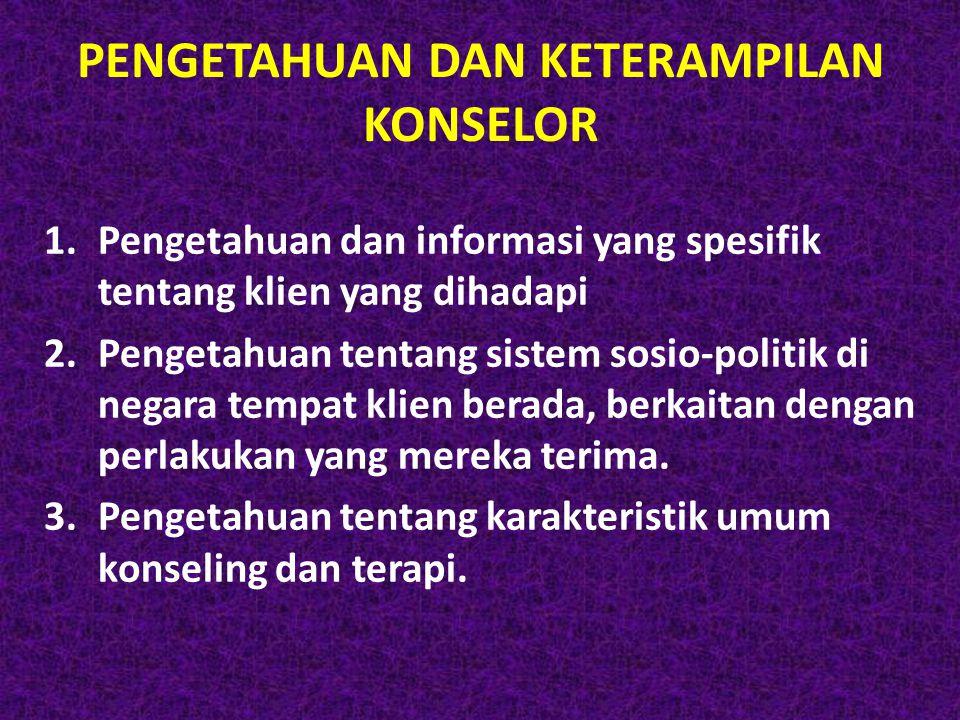 PENGETAHUAN DAN KETERAMPILAN KONSELOR 1.Pengetahuan dan informasi yang spesifik tentang klien yang dihadapi 2.Pengetahuan tentang sistem sosio-politik
