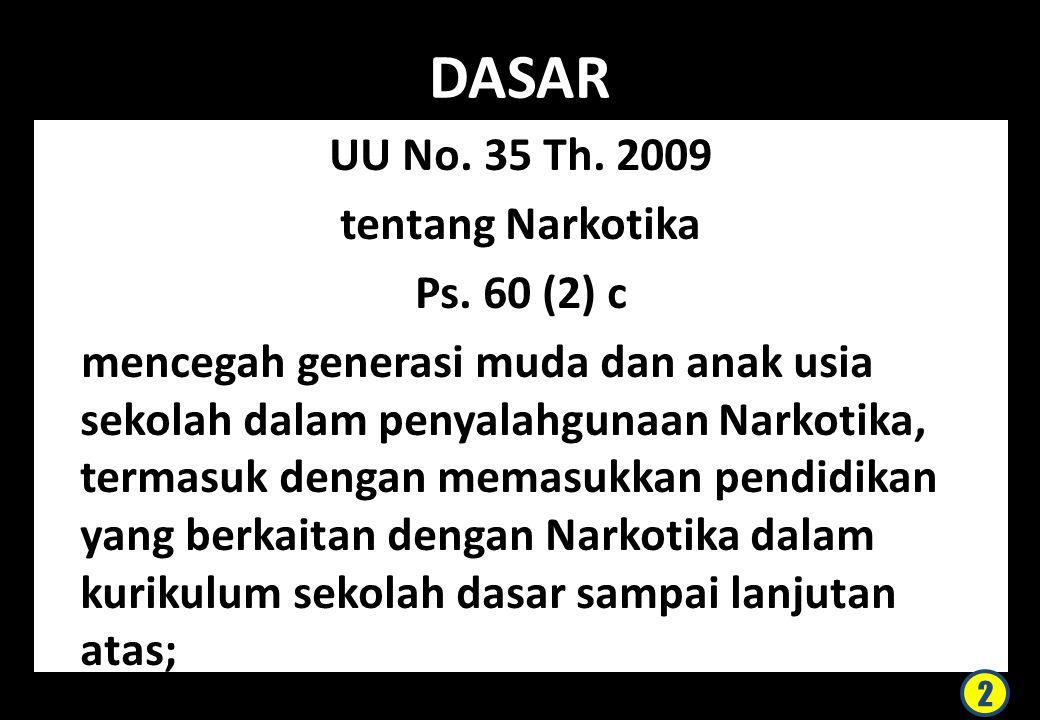 DASAR UU No. 35 Th. 2009 tentang Narkotika Ps. 60 (2) c mencegah generasi muda dan anak usia sekolah dalam penyalahgunaan Narkotika, termasuk dengan m