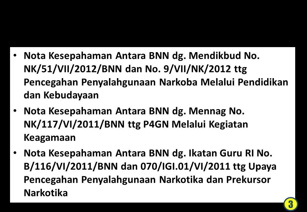 DASAR Nota Kesepahaman Antara BNN dg. Mendikbud No. NK/51/VII/2012/BNN dan No. 9/VII/NK/2012 ttg Pencegahan Penyalahgunaan Narkoba Melalui Pendidikan