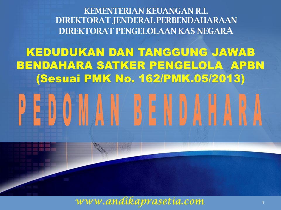 www.andikaprasetia.com KEDUDUKAN DAN TANGGUNG JAWAB BENDAHARA SATKER PENGELOLA APBN (Sesuai PMK No.