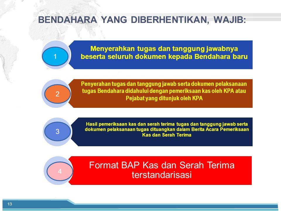 BENDAHARA YANG DIBERHENTIKAN, WAJIB: Menyerahkan tugas dan tanggung jawabnya beserta seluruh dokumen kepada Bendahara baru Penyerahan tugas dan tanggung jawab serta dokumen pelaksanaan tugas Bendahara didahului dengan pemeriksaan kas oleh KPA atau Pejabat yang ditunjuk oleh KPA Hasil pemeriksaan kas dan serah terima tugas dan tanggung jawab serta dokumen pelaksanaan tugas dituangkan dalam Berita Acara Pemeriksaan Kas dan Serah Terima Format BAP Kas dan Serah Terima terstandarisasi 1 3 2 4 13