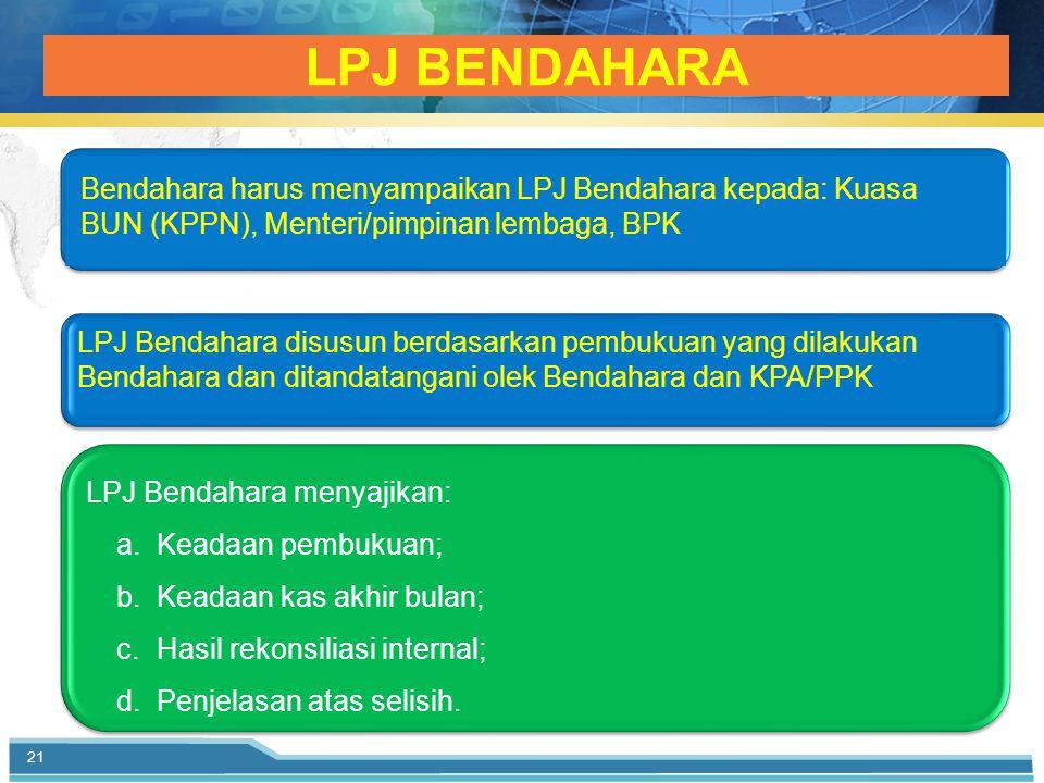 LPJ BENDAHARA 21 LPJ Bendahara menyajikan: a.Keadaan pembukuan; b.Keadaan kas akhir bulan; c.Hasil rekonsiliasi internal; d.Penjelasan atas selisih.