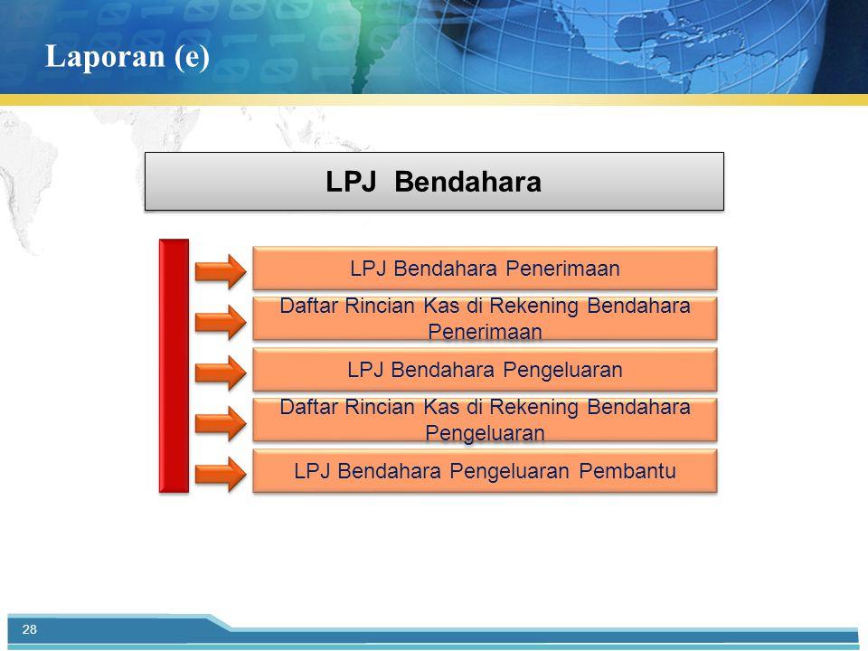 Laporan (e) LPJ Bendahara LPJ Bendahara Penerimaan Daftar Rincian Kas di Rekening Bendahara Penerimaan LPJ Bendahara Pengeluaran Daftar Rincian Kas di Rekening Bendahara Pengeluaran LPJ Bendahara Pengeluaran Pembantu 28