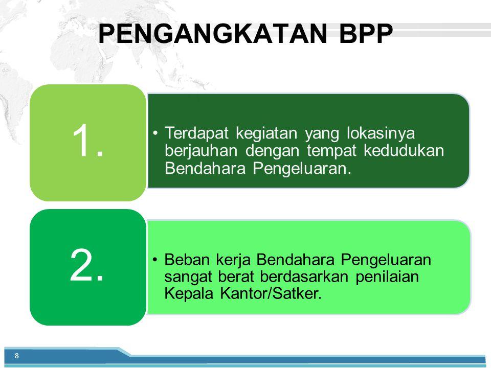 PENGANGKATAN BPP Terdapat kegiatan yang lokasinya berjauhan dengan tempat kedudukan Bendahara Pengeluaran.