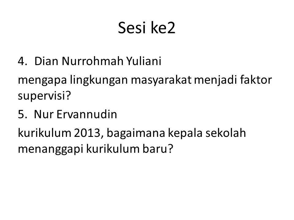 Sesi ke2 4.Dian Nurrohmah Yuliani mengapa lingkungan masyarakat menjadi faktor supervisi? 5. Nur Ervannudin kurikulum 2013, bagaimana kepala sekolah m