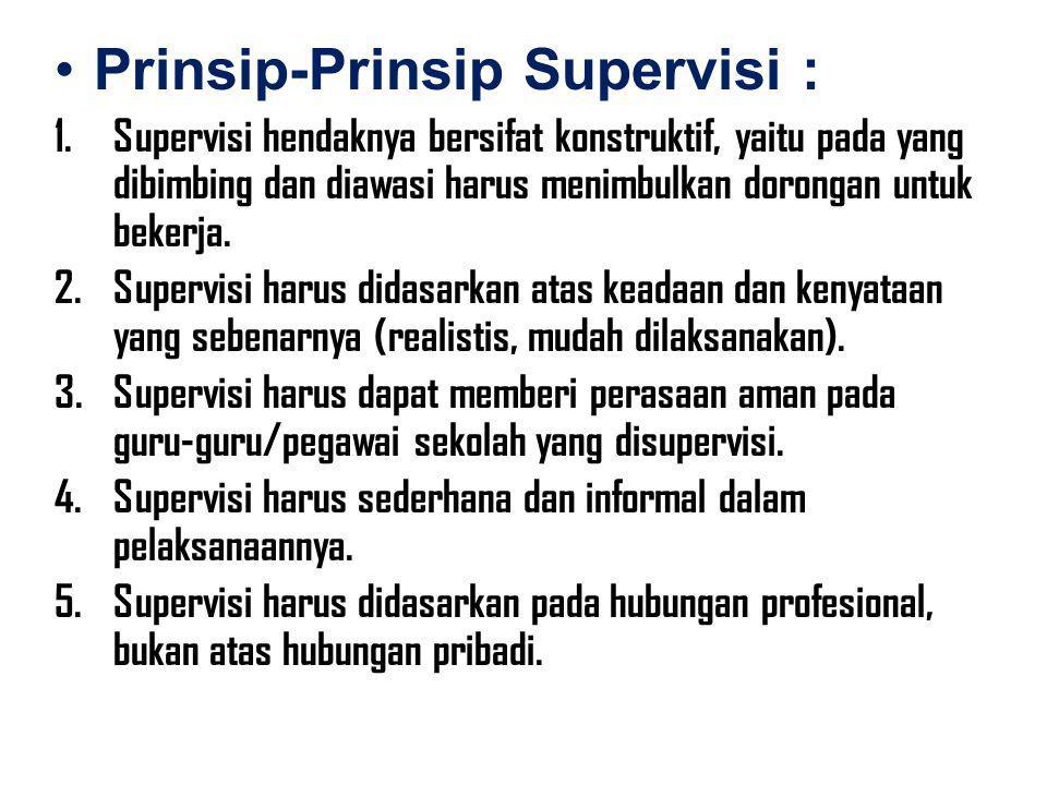 Prinsip-Prinsip Supervisi : 1.Supervisi hendaknya bersifat konstruktif, yaitu pada yang dibimbing dan diawasi harus menimbulkan dorongan untuk bekerja
