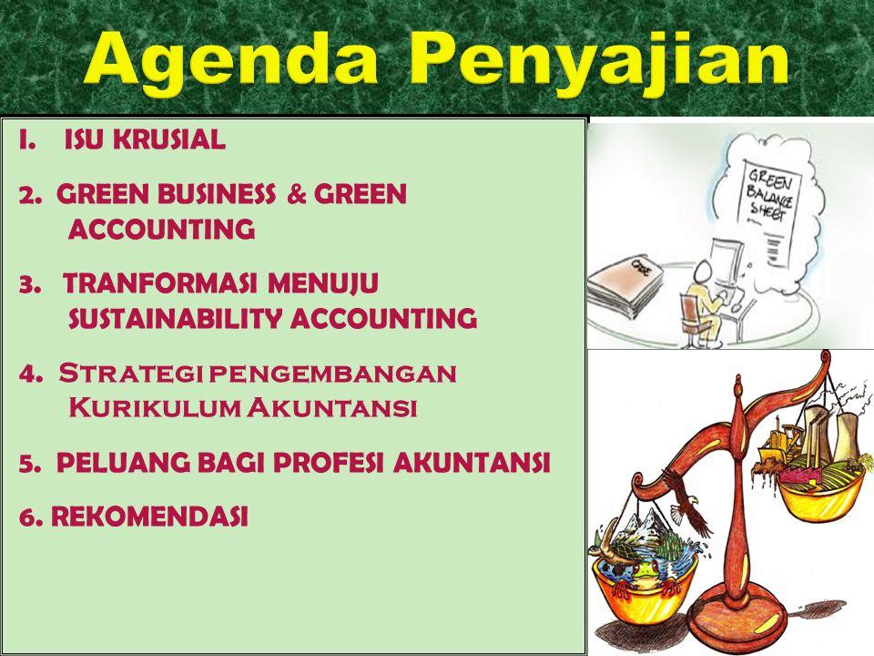 I. ISU KRUSIAL 2. GREEN BUSINESS & GREEN ACCOUNTING 3. TRANFORMASI MENUJU SUSTAINABILITY ACCOUNTING 4. Strategi pengembangan Kurikulum Akuntansi 5. PE