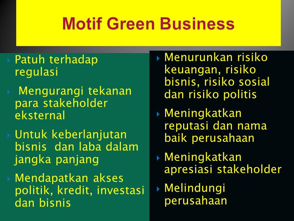  Patuh terhadap regulasi  Mengurangi tekanan para stakeholder eksternal  Untuk keberlanjutan bisnis dan laba dalam jangka panjang  Mendapatkan aks