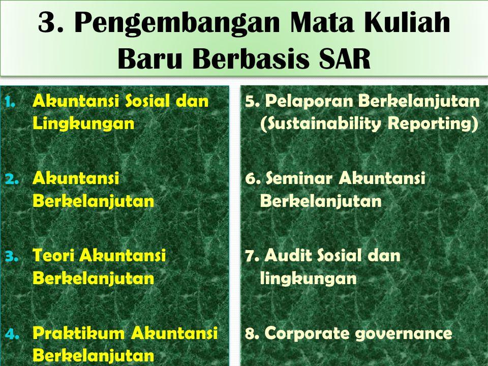 3. Pengembangan Mata Kuliah Baru Berbasis SAR 1. Akuntansi Sosial dan Lingkungan 2. Akuntansi Berkelanjutan 3. Teori Akuntansi Berkelanjutan 4. Prakti