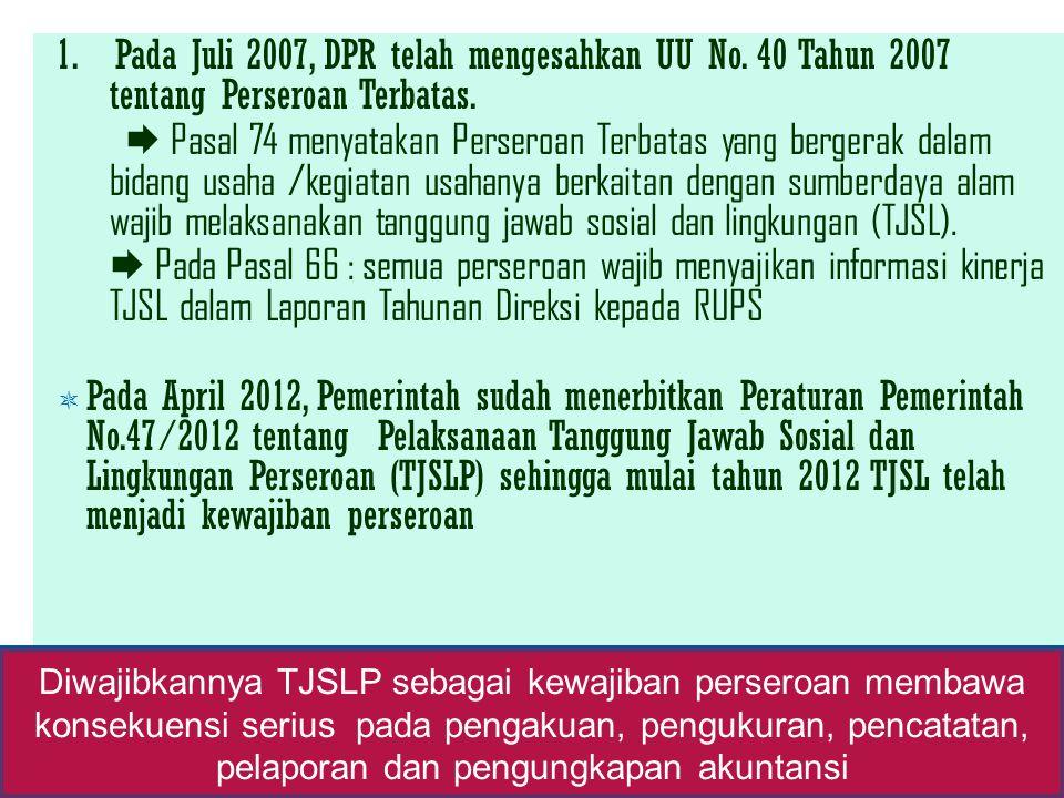 1. Pada Juli 2007, DPR telah mengesahkan UU No. 40 Tahun 2007 tentang Perseroan Terbatas.  Pasal 74 menyatakan Perseroan Terbatas yang bergerak dalam