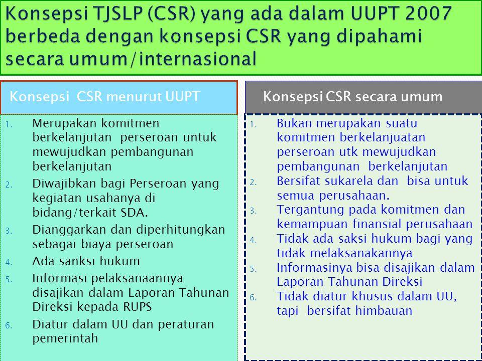 Konsepsi CSR menurut UUPT 1. Merupakan komitmen berkelanjutan perseroan untuk mewujudkan pembangunan berkelanjutan 2. Diwajibkan bagi Perseroan yang k