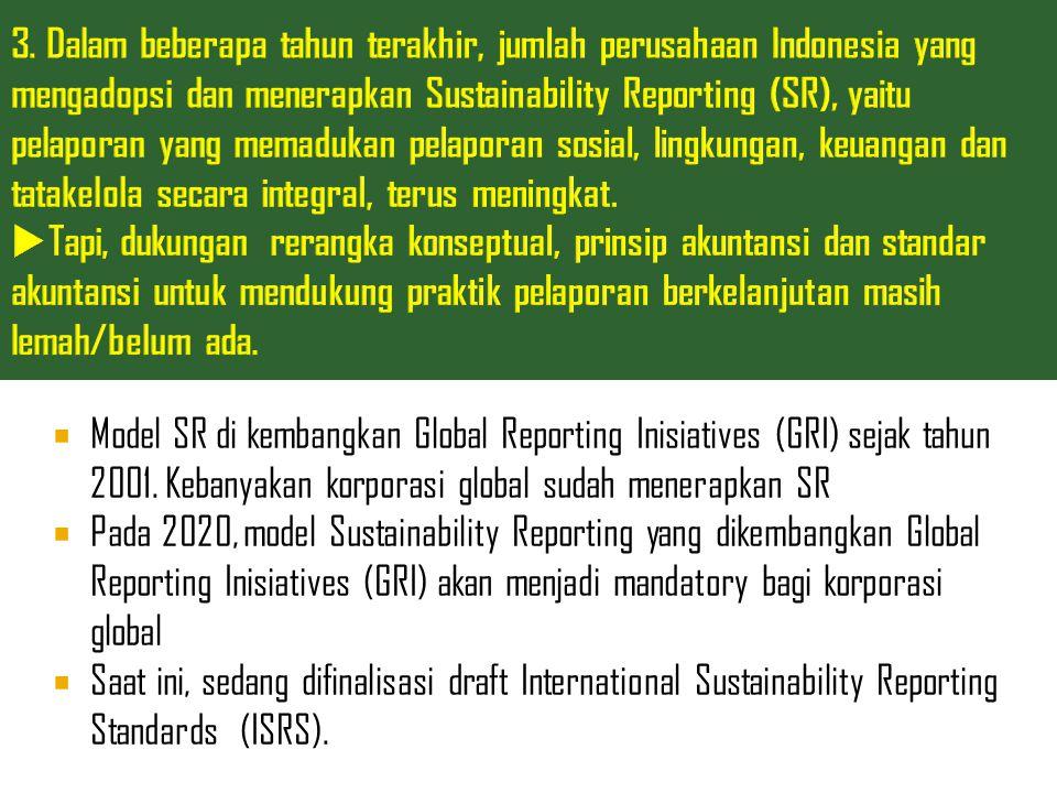  Model SR di kembangkan Global Reporting Inisiatives (GRI) sejak tahun 2001. Kebanyakan korporasi global sudah menerapkan SR  Pada 2020, model Susta