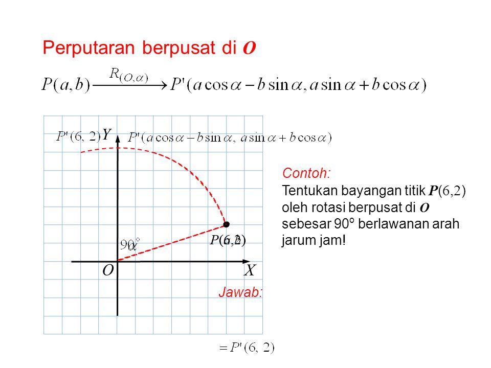 Perputaran berpusat di O O X Y P(a,b)P(a,b) Contoh: Tentukan bayangan titik P ( 6,2 ) oleh rotasi berpusat di O sebesar 90 o berlawanan arah jarum jam