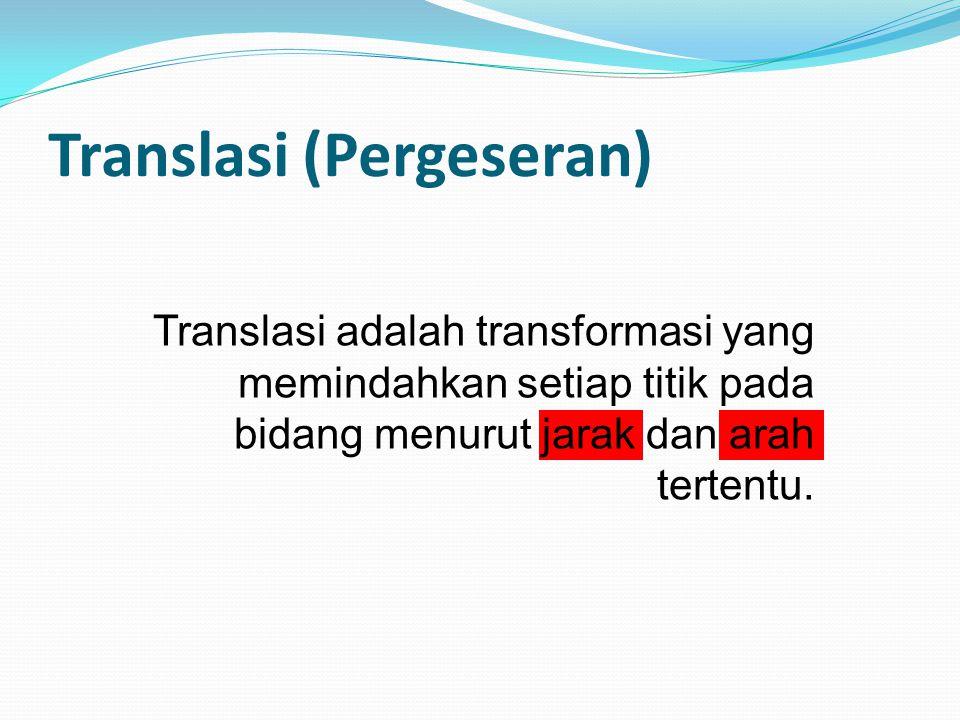 Translasi (Pergeseran) Translasi adalah transformasi yang memindahkan setiap titik pada bidang menurut jarak dan arah tertentu.
