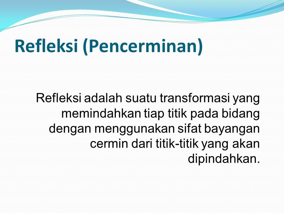 Refleksi adalah suatu transformasi yang memindahkan tiap titik pada bidang dengan menggunakan sifat bayangan cermin dari titik-titik yang akan dipinda