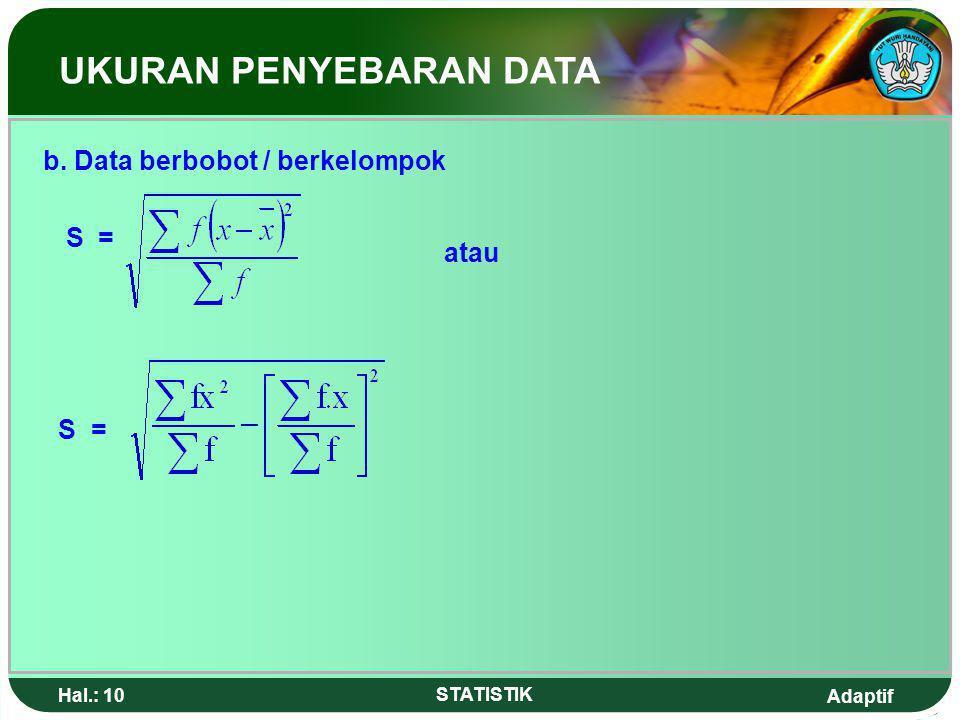 Adaptif Hal.: 9 STATISTIK Contoh : Tentukan simpangan baku dari data : 2,3,5,8,7.