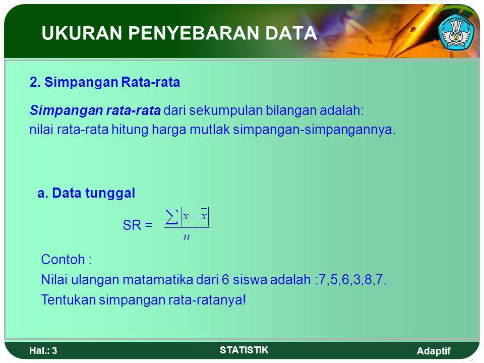 Adaptif Hal.: 2 STATISTIK Ukuran penyebaran data adalah suatu ukuran yang menyatakan seberapa besar nilai-nilai data berbeda atau bervariasi dengan ni