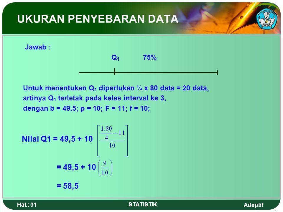 Adaptif Hal.: 30 STATISTIK 3.