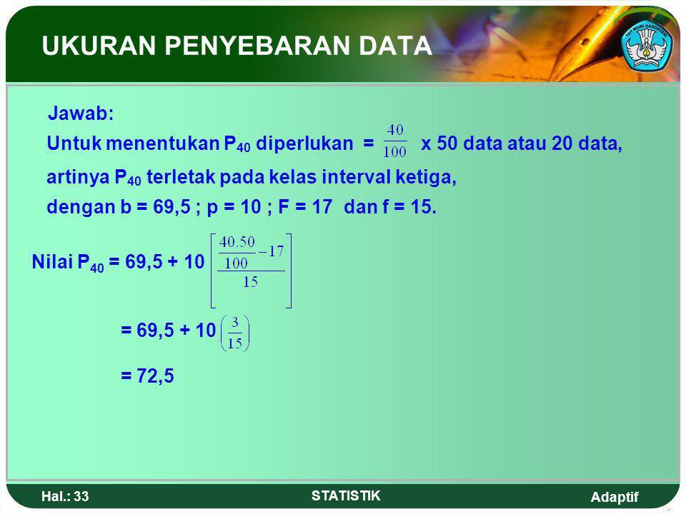 Adaptif Hal.: 32 STATISTIK 4.