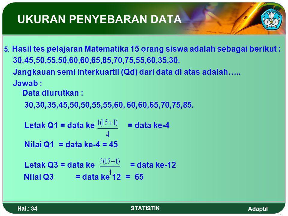 Adaptif Hal.: 33 STATISTIK UKURAN PENYEBARAN DATA Jawab: Untuk menentukan P 40 diperlukan = x 50 data atau 20 data, artinya P 40 terletak pada kelas i