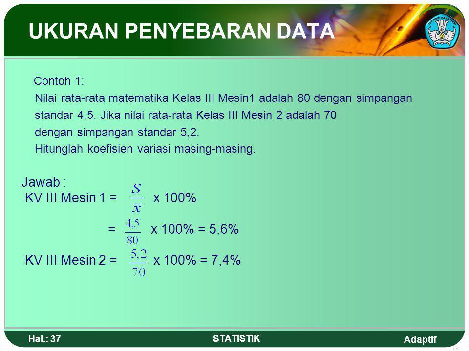 Adaptif Hal.: 36 STATISTIK Koefisien variasi adalah perbandingan antara simpangan standar dengan nilai rata-rata yang dinyatakan dengan persentase. Ko
