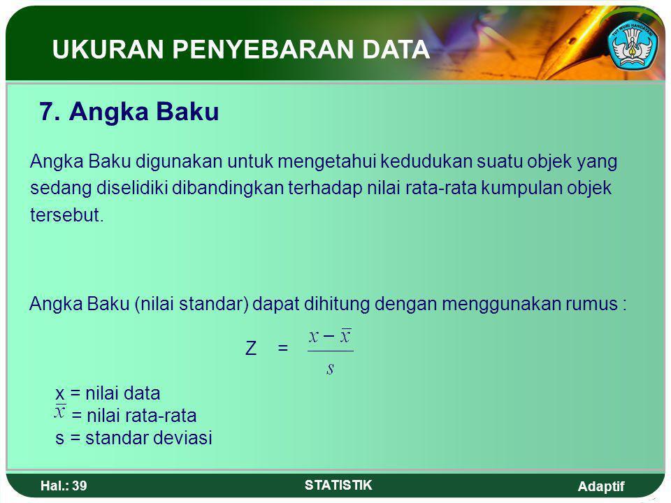 Adaptif Hal.: 38 STATISTIK UKURAN PENYEBARAN DATA Contoh 2 : Standar deviasi sekelompok data adalah 1,5 sedang koefisien variasinya adalah 12,5%.