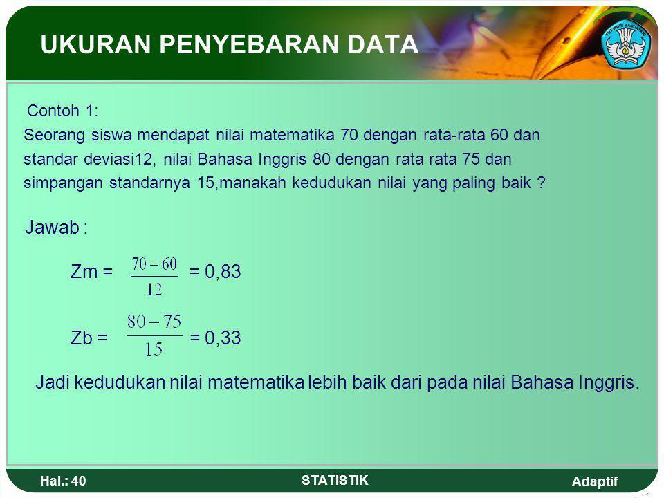 Adaptif Hal.: 39 STATISTIK 7. Angka Baku Angka Baku digunakan untuk mengetahui kedudukan suatu objek yang sedang diselidiki dibandingkan terhadap nila