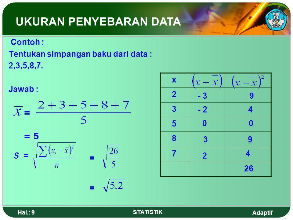 Adaptif Hal.: 8 STATISTIK 3.Simpangan Baku / standar deviasi Simpangan Baku (S) dari sekumpulan bilangan adalah akar dari jumlah deviasi kuadrat dari