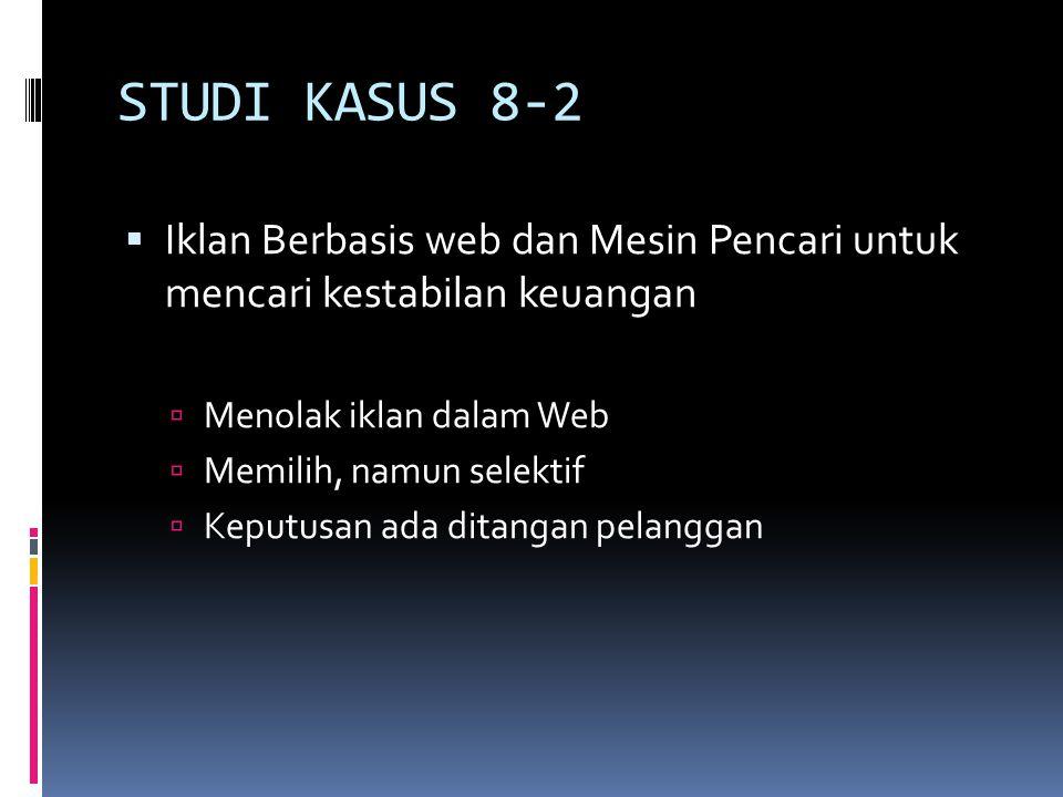 STUDI KASUS 8-2  Iklan Berbasis web dan Mesin Pencari untuk mencari kestabilan keuangan  Menolak iklan dalam Web  Memilih, namun selektif  Keputus