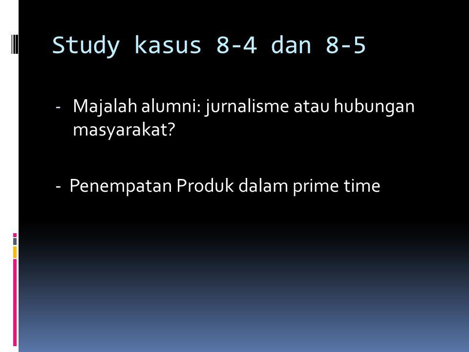 Study kasus 8-4 dan 8-5 - Majalah alumni: jurnalisme atau hubungan masyarakat? - Penempatan Produk dalam prime time