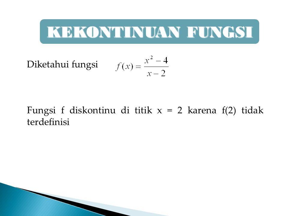 Diketahui fungsi Fungsi f diskontinu di titik x = 2 karena f(2) tidak terdefinisi KEKONTINUAN FUNGSI