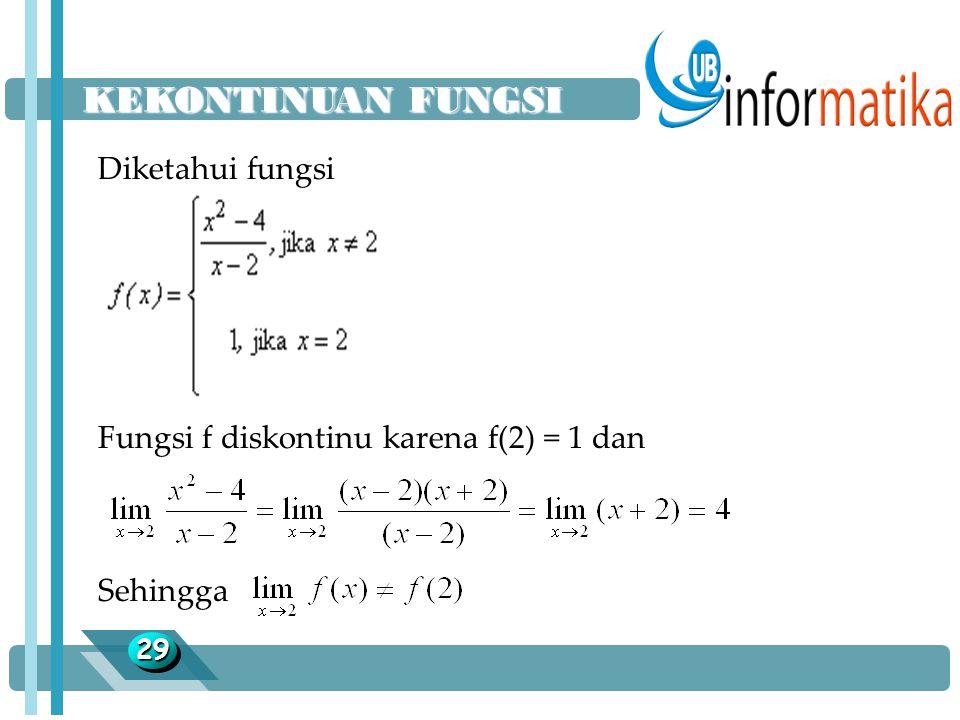 2929 Diketahui fungsi Fungsi f diskontinu karena f(2) = 1 dan Sehingga