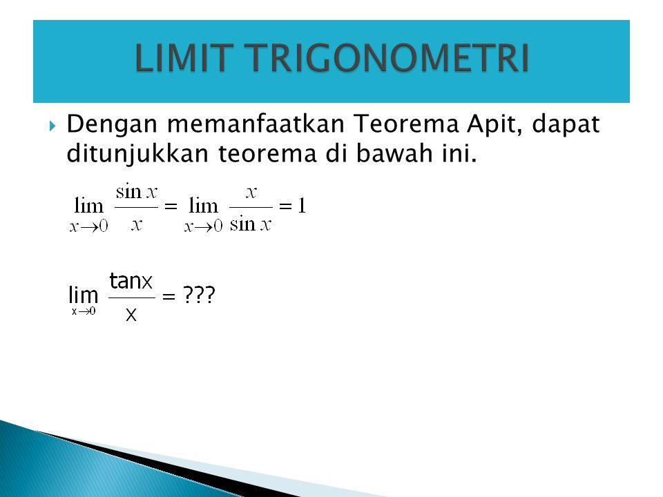  Dengan memanfaatkan Teorema Apit, dapat ditunjukkan teorema di bawah ini.